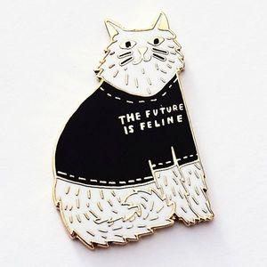 The future is feline cat feminist magnetic pin